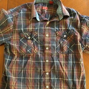 Plaid Izod Button Down shirt, short sleeves